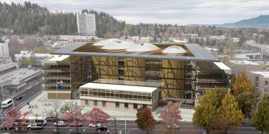 Proposed design of the Lane County courthouse, a five storey mass timber civil building.
