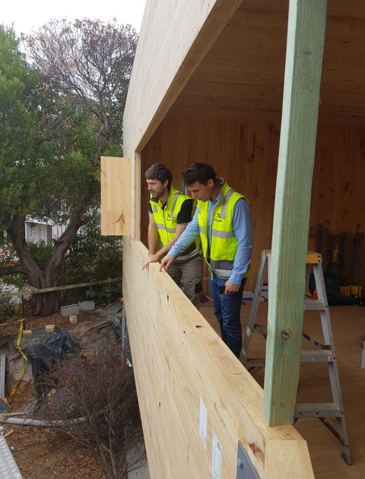 XLam on site at a CLT house under construction on Victoria's Coast