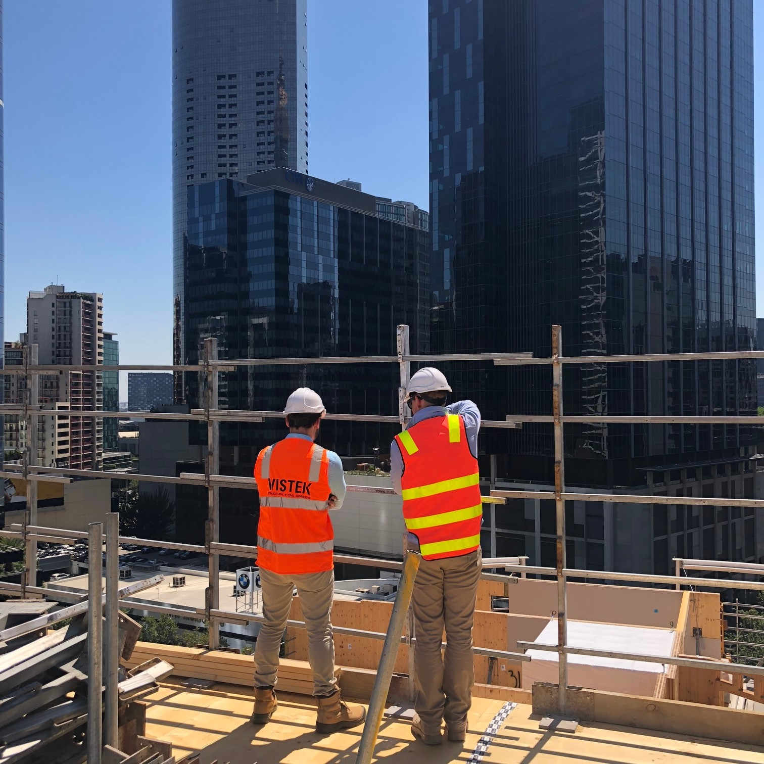 Vistek on CLT construction site at 55 Southbank Blvd Melbourne