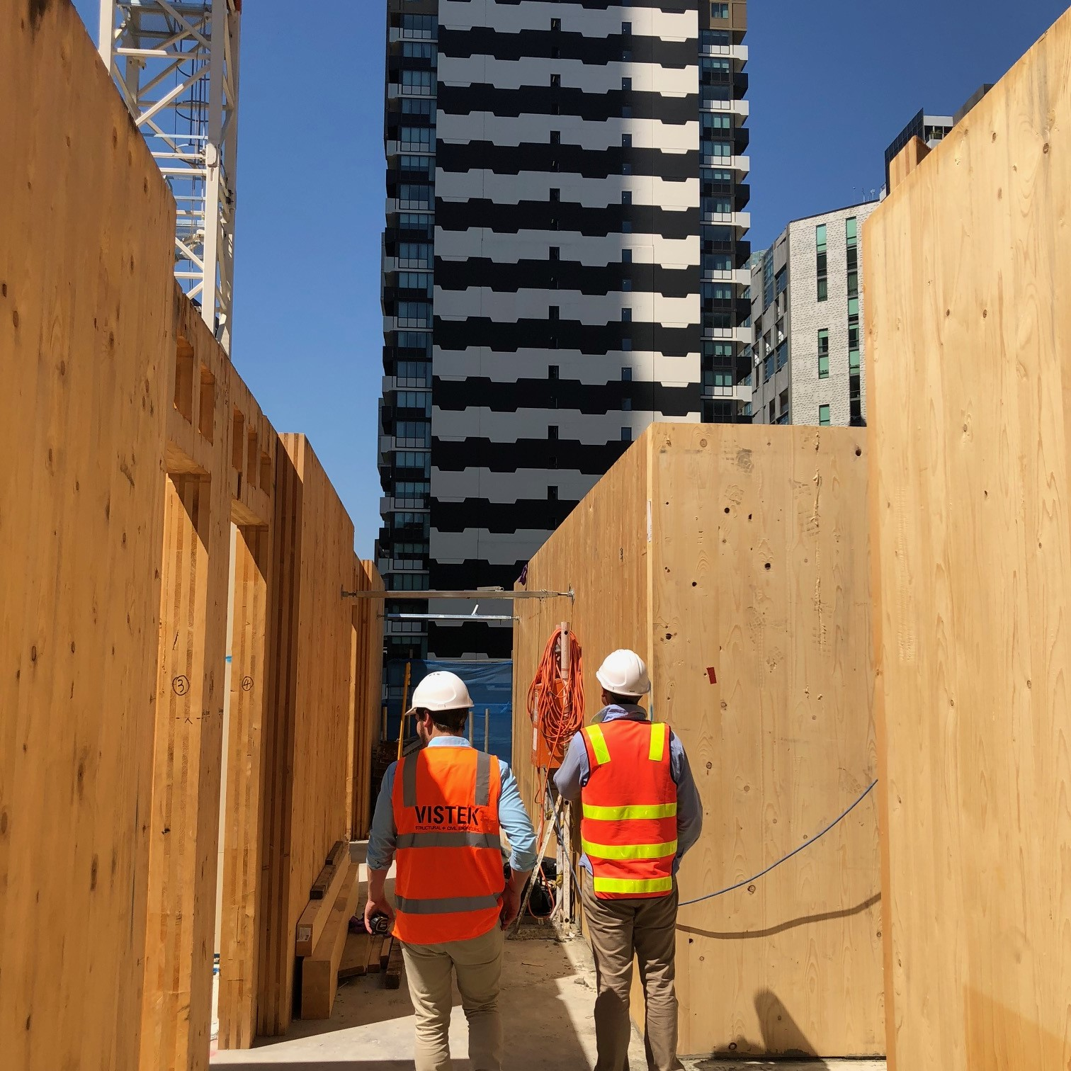 Vistek on site of CLT building under construction with temporary propping visible at 55 Southbank Blvd Melbourne