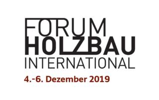 "Logo for 25th International Wood Construction Conference (IHF2019) ""FORUM HOLZBAU INTERNATIONAL"""