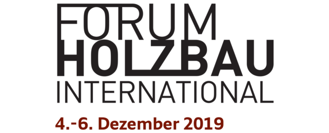 "Logo for 25th International Wood Construction Conference (IHF2019) ""FORUM HOLZBAU INTERNATIONAL"""
