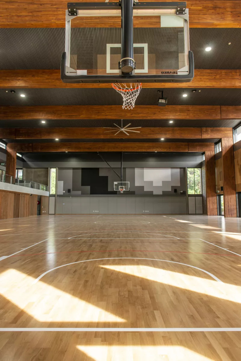 Glulam beams spanning a basketball court