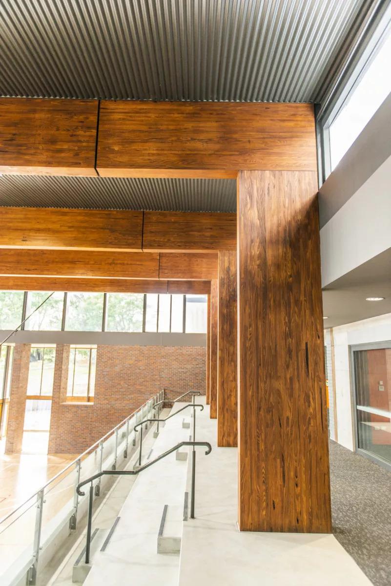 Hidden connection in a mass timber Glulam beam