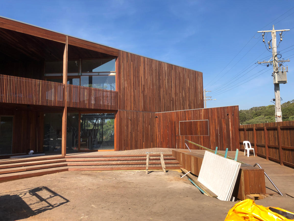 Accessable ramp and decking in front of PLSLSC during construction