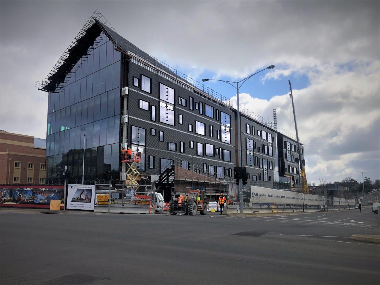 Ballarat GovHub Mass Timber building after glazing