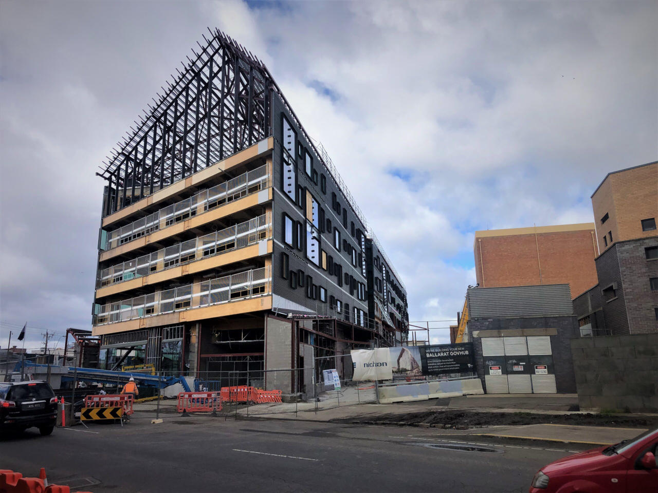 5 storey Mass Timber structure visible during construction of Ballarat GovHub before glazing