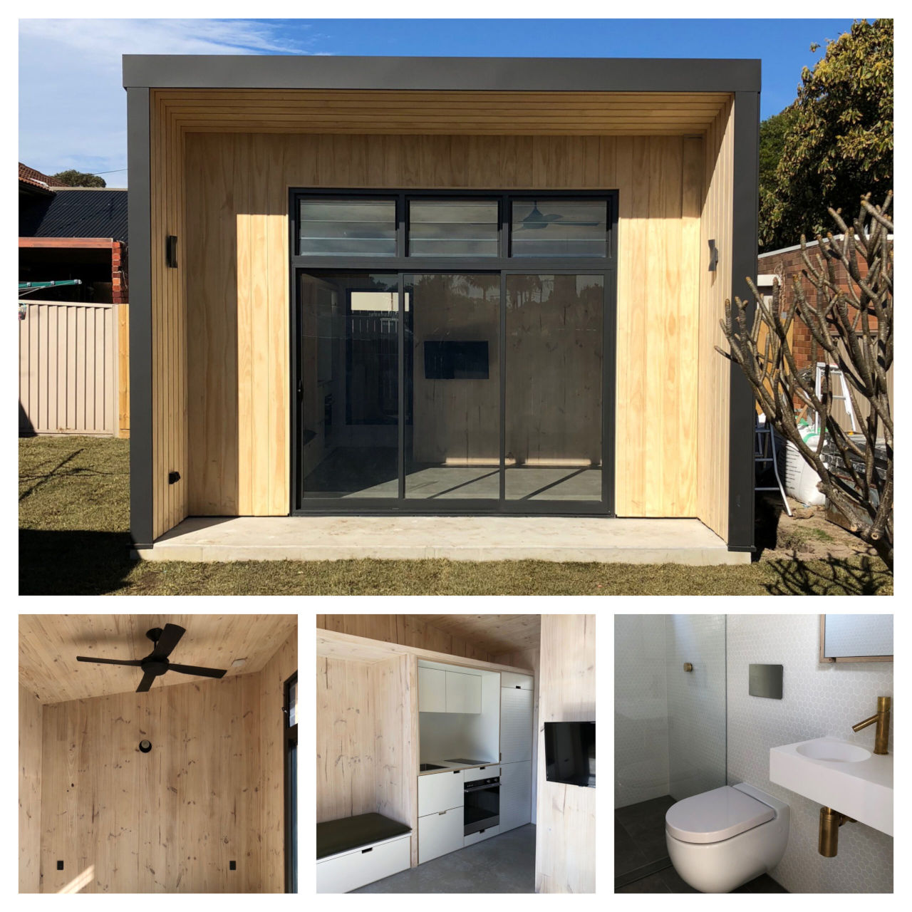 Collated images of Yardstix CLT tiny house: Top image is front view, with images of bedroom, living area and kitchen, and bathroom underneath.