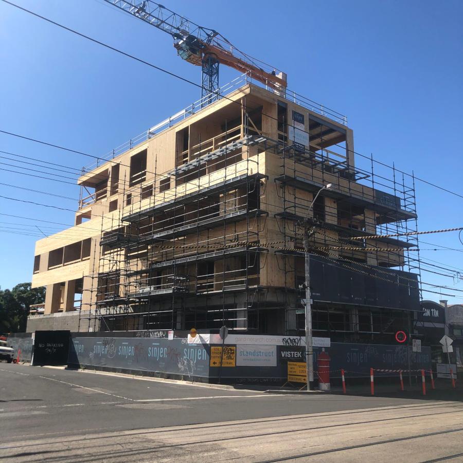 Mass Timber building under construction, engineered by Vistek