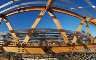 Panorama of large Glulam Mass Timber structure under construction