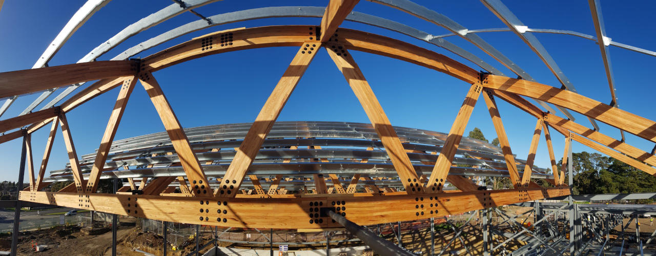 Panorama of large Glulam Mass Timber structure under construction