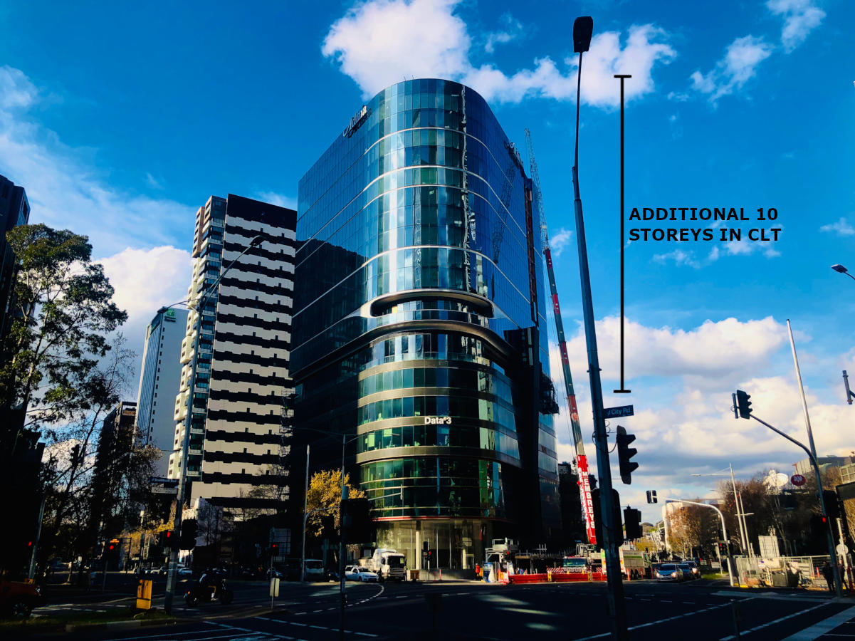 A 10 storey vertical extension in CLT and Mass Timber on on top of an existing 6 storey building at 55 Southbank Boulevard, Melbourne