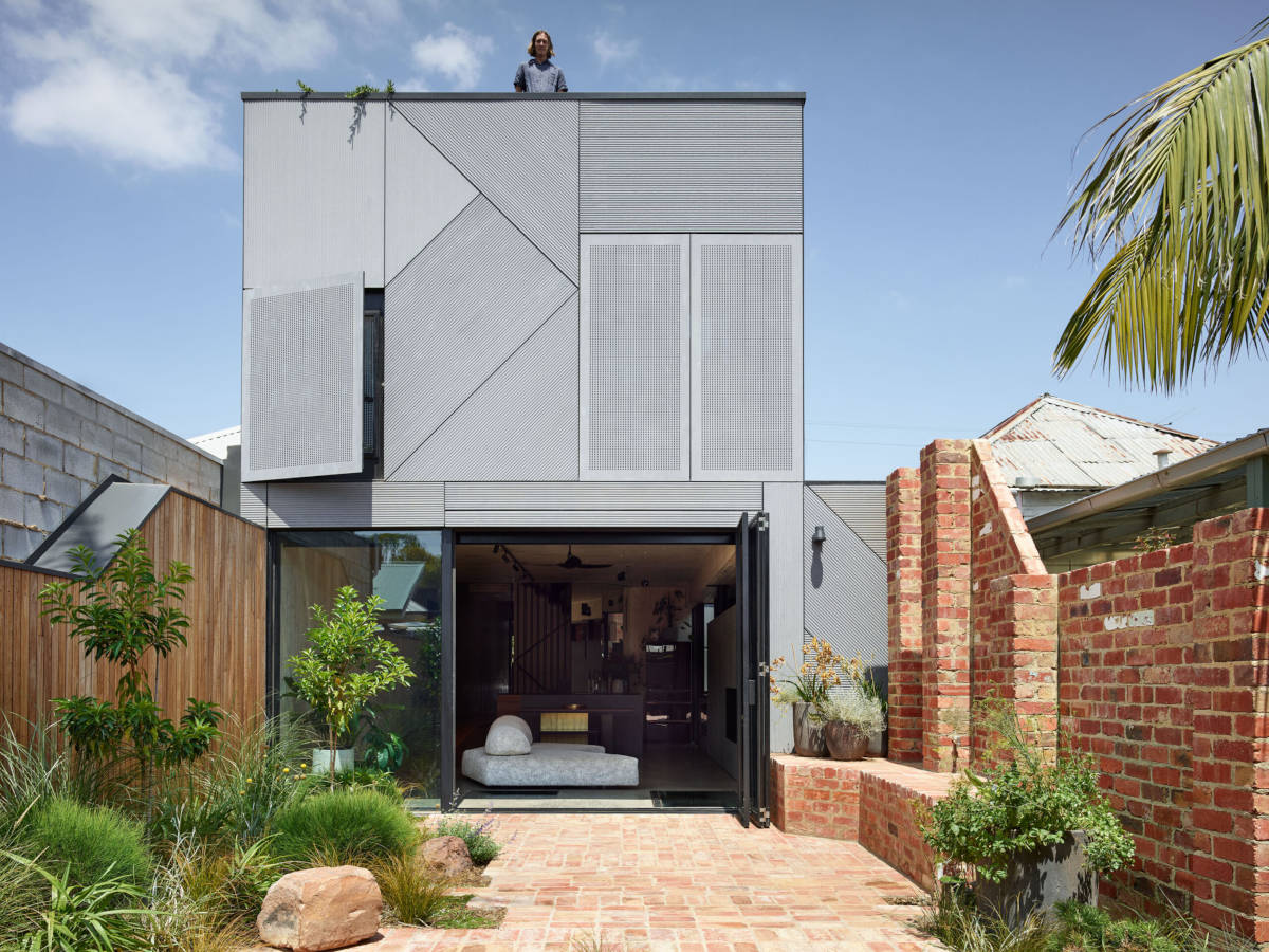 Brick courtyard and modern rear face of the building. Nominated for Timber Design Awards People's Choice 2020.