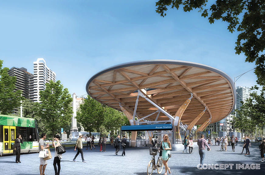Digital render of curved Mass Timber and Steel canopy over station entrance