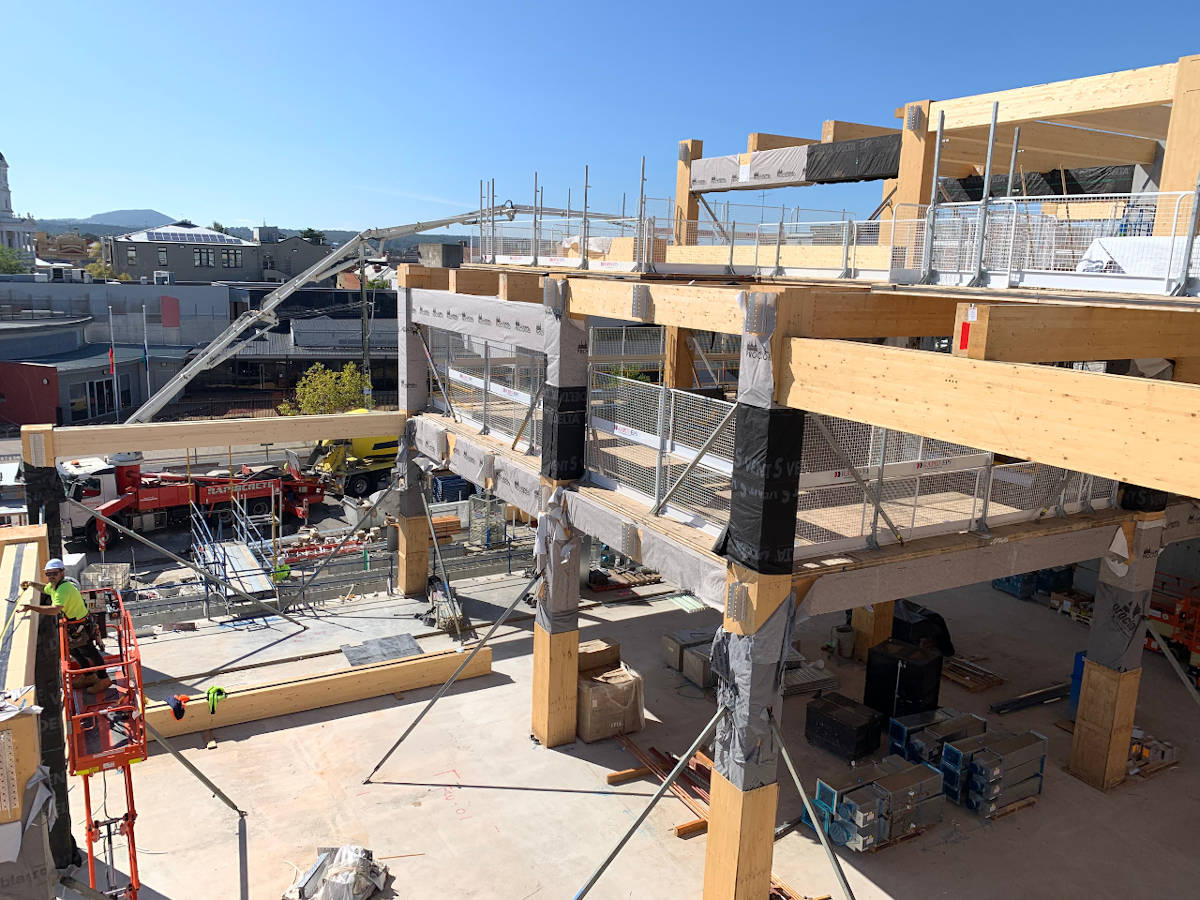 Mass timber superstructure of Ballarat Govhub while under construction