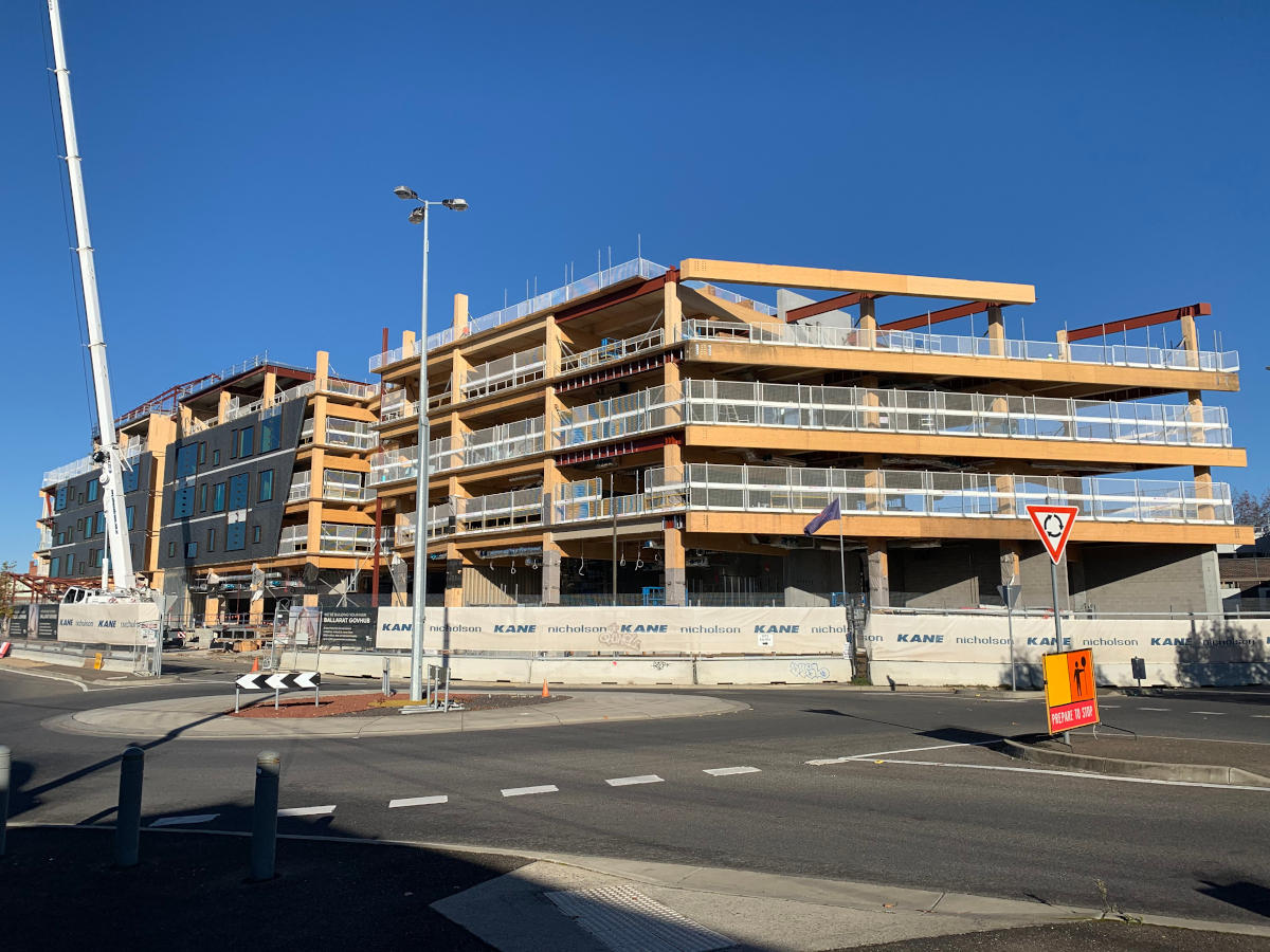 Mass timber superstructure of 5 storey building under construction