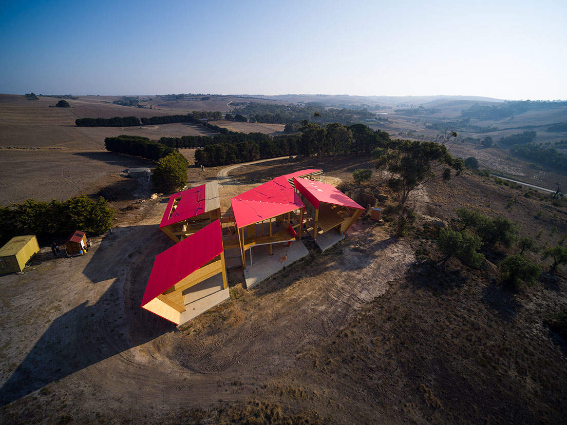 Birds eye view of Ceres CLT and mass timber house, structure is divided into 5 pavilions