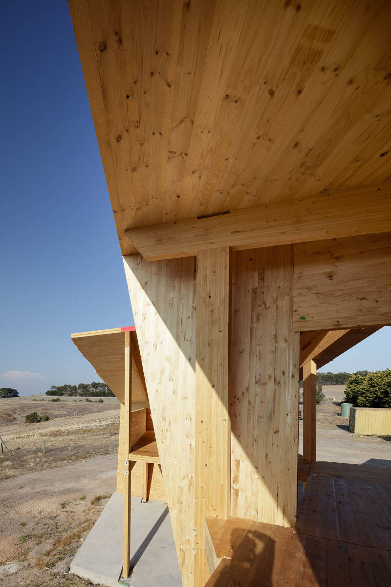 Angular Mass Timber floor, beams and walls during construction