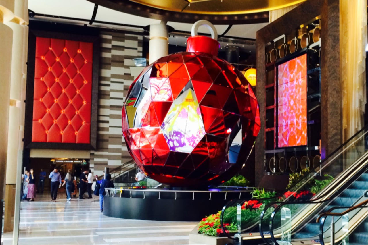 A giant christmas bauble - example of structural engineering of an art installation