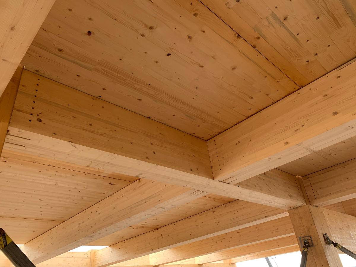 Detail of engineered timber beams and ceiling/floor slabs with temporary bracing