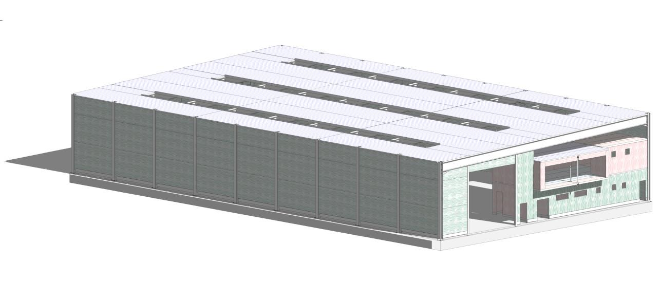 Computer render of Mass Timber/CLT warehouse