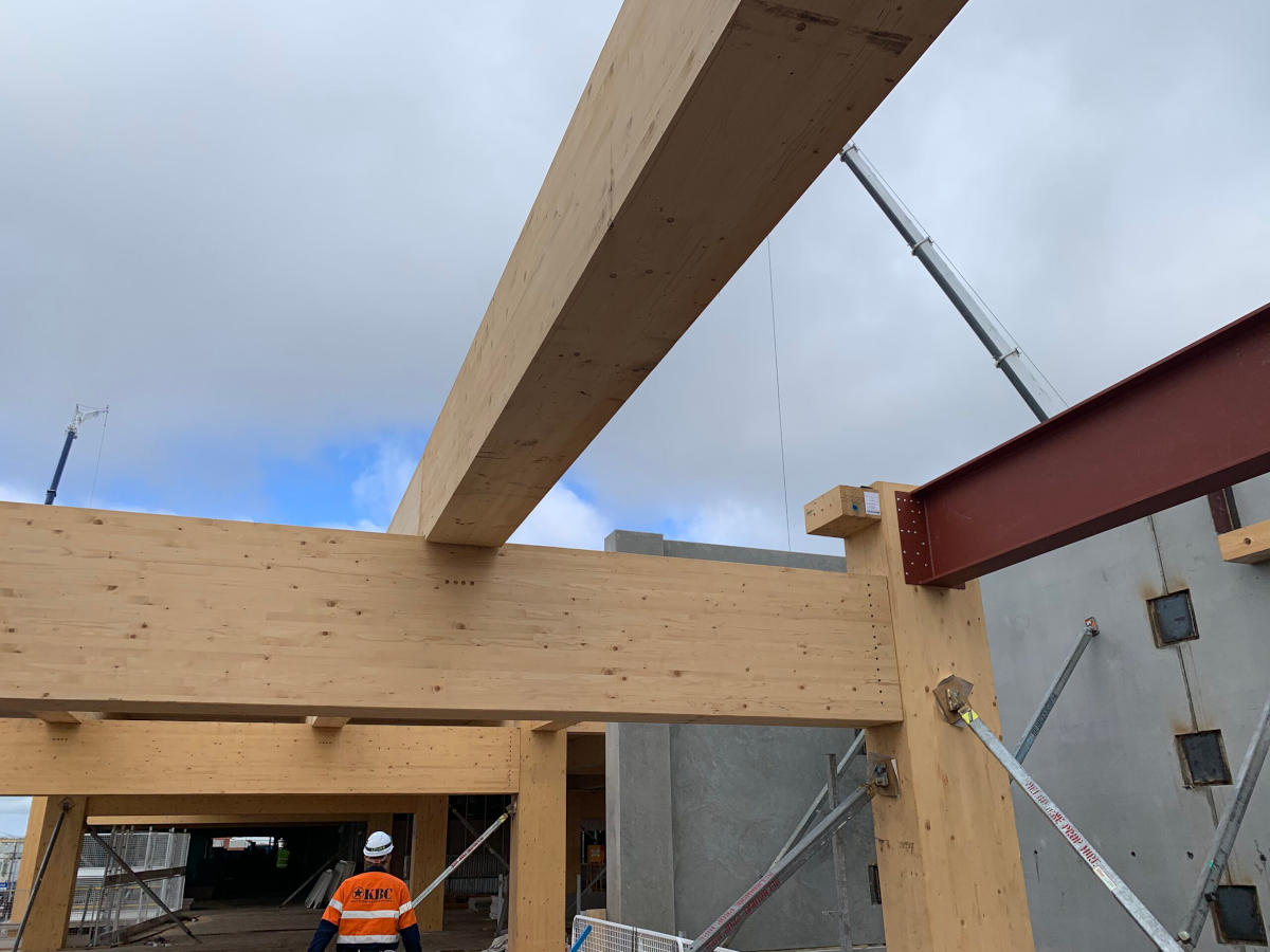 Steel I beam and Glulam beams during construction, including temporary propping supports
