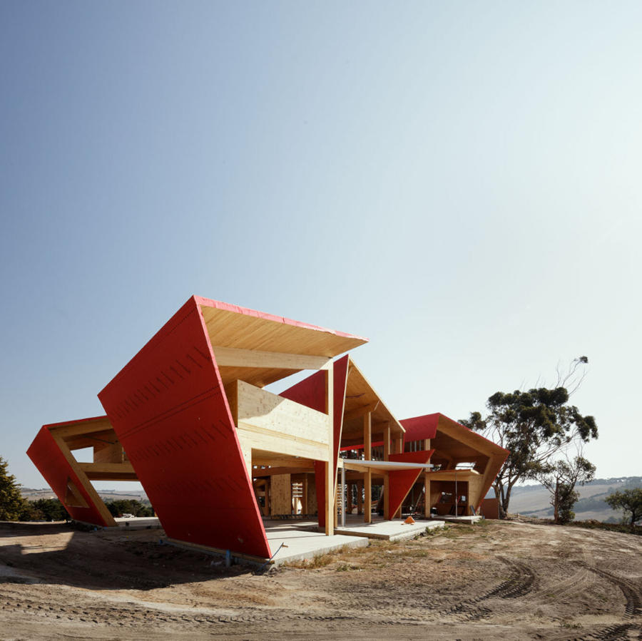 Geometric Mass Timber house during construction